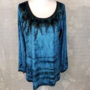 Seventh Avenue teal blue long sleeved top L